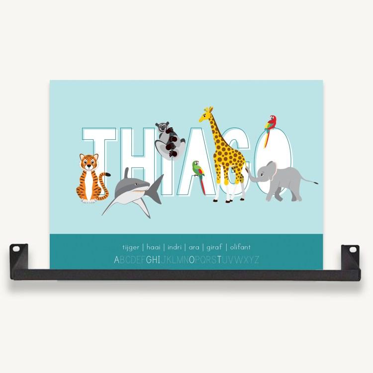 gepersonaliseerde poster dieren met naam blauw