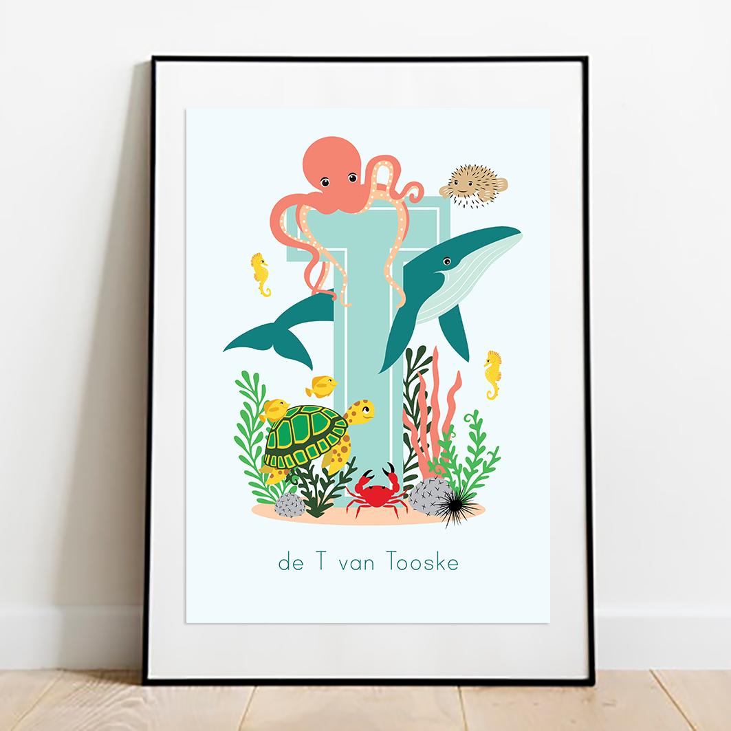 gepersonaliseerde poster dieren met letter oceaan