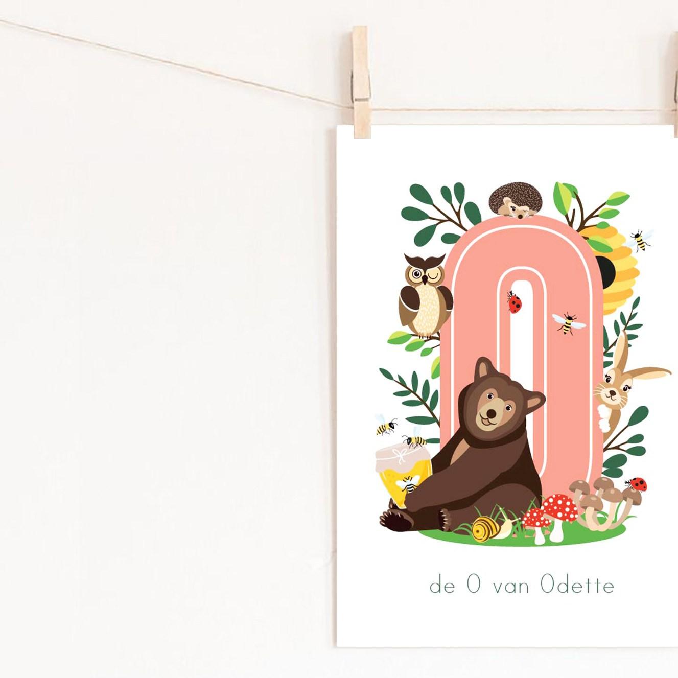 gepersonaliseerde poster dieren met letter bos ontwerp door lindy