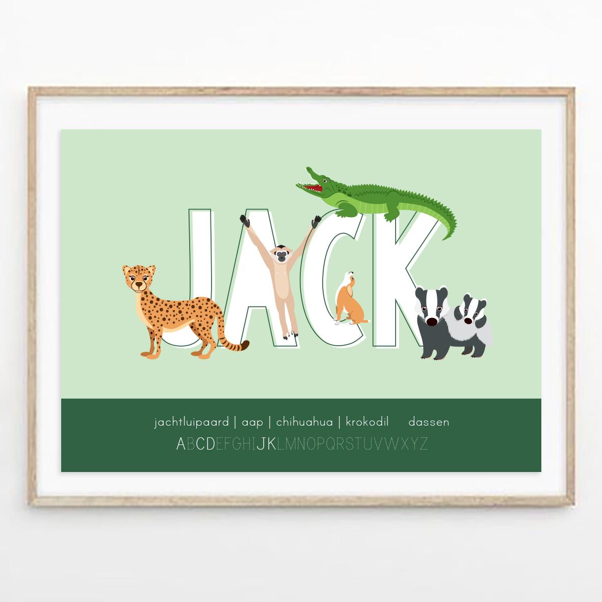 gepersonaliseerde poster dieren met naam mintgroen