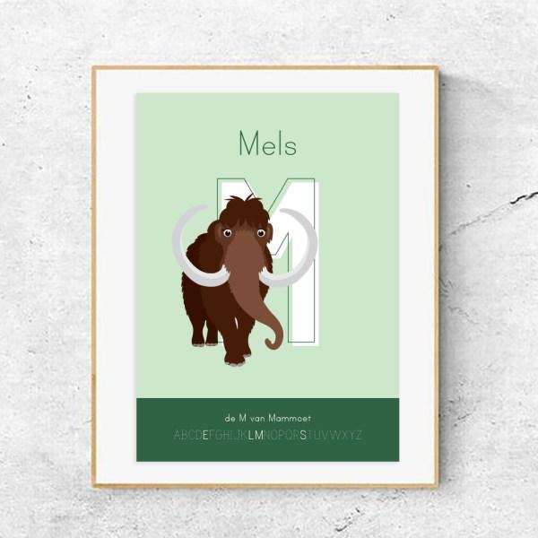 gepersonaliseerde poster dieren met letter mammoet ontwerp door lindy