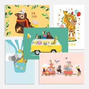 ansichtkaartjes dieren kind verjaardag beterschap ontwerp door lindy