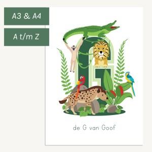 gepersonaliseerde poster jungledieren kind babykamer
