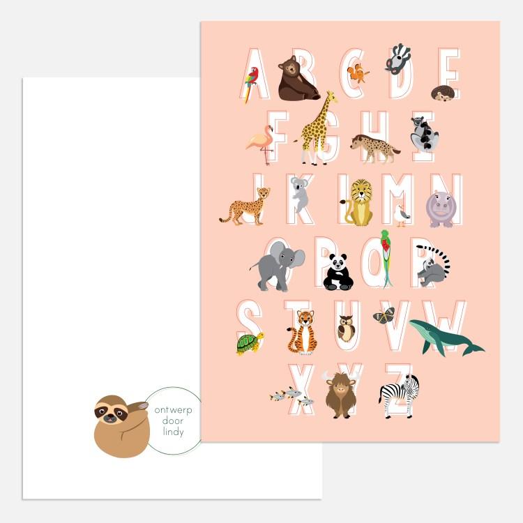 abc alfabet ansichtkaart kaartje in roze A5 formaat