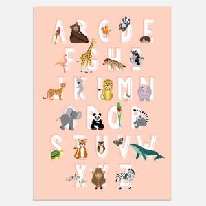 Alfabet poster roze A3 ontwerp door lindy