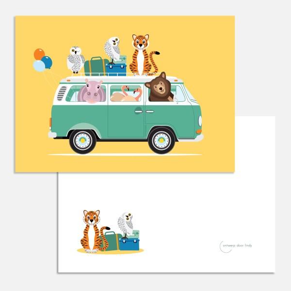 Volkswagen busje geel ansichtkaart ontwerp door lindy