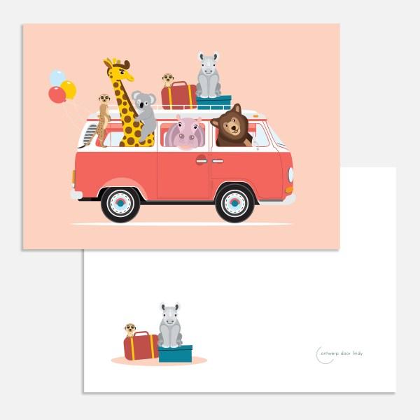 Volkswagen busje roze ansichtkaart ontwerp door lindy