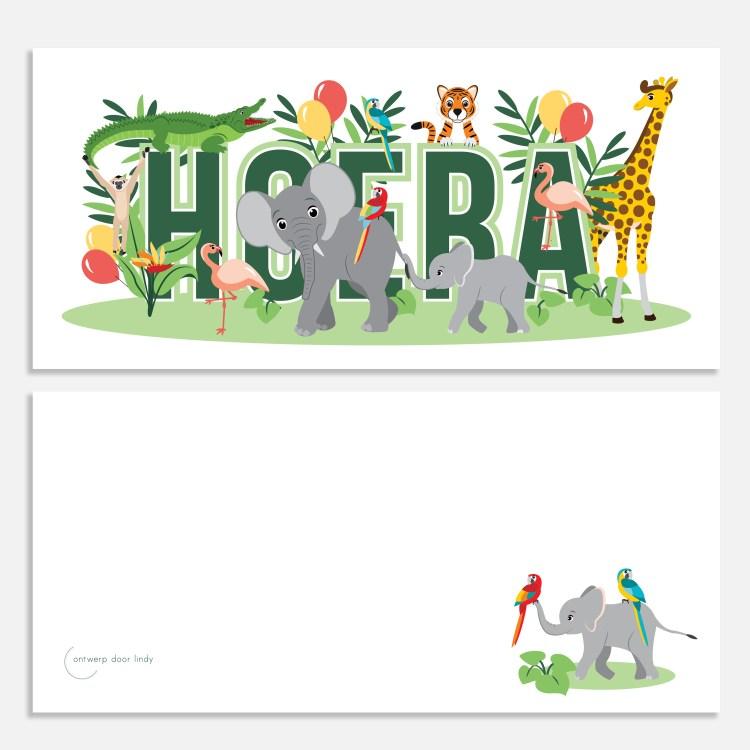ansichtkaartje 21x10 jungledieren ontwerp door lindy