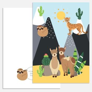 kaart woestijn dieren lama alpaca a5 ontwerp door lindy