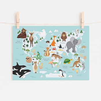 poster wereld kaart dieren blauw kinderkamer ontwerp door lindy 2021
