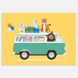 voertuigen volkswagen busje poster geel A4 kinderkamer