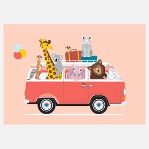 voertuigen volkswagen busje poster roze A4 kinderkamer