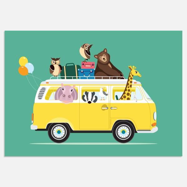voertuigen volkswagen busje poster turquoise A4 kinderkamer