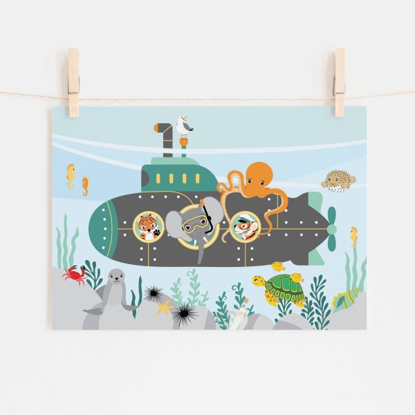 poster duikboot dieren zee ontwerp door lindy 2021