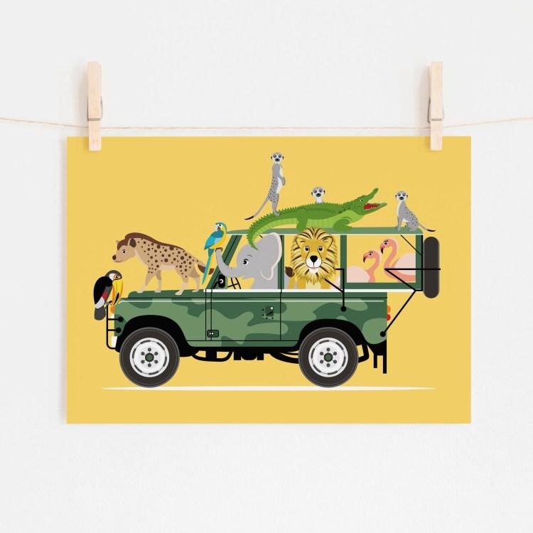 poster jeep safari dieren jungle geel ontwerp door lindy 2021