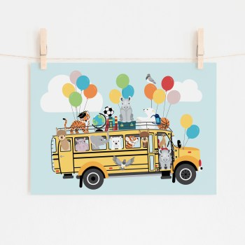 poster schoolbus dieren ballonnen blauw ontwerp door lindy 2021