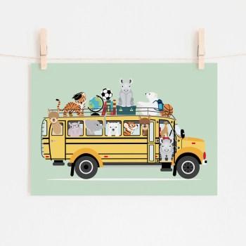 poster schoolbus dieren mint groen ontwerp door lindy 2021
