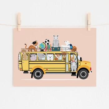 poster schoolbus dieren roze ontwerp door lindy 2021