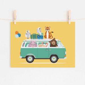poster volkswagen vw busje dieren geel ontwerp door lindy 2021