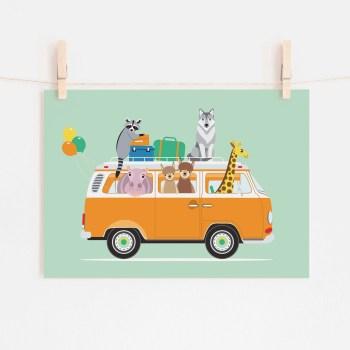 poster volkswagen vw busje dieren mint groen ontwerp door lindy 2021