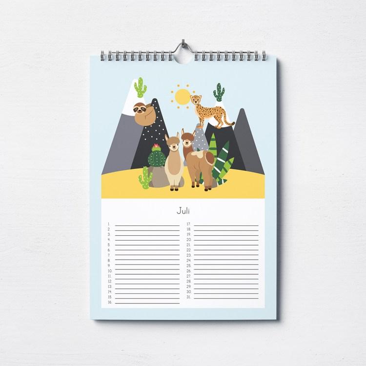 verjaardagskalender a4 dieren kind ontwerp door lindy