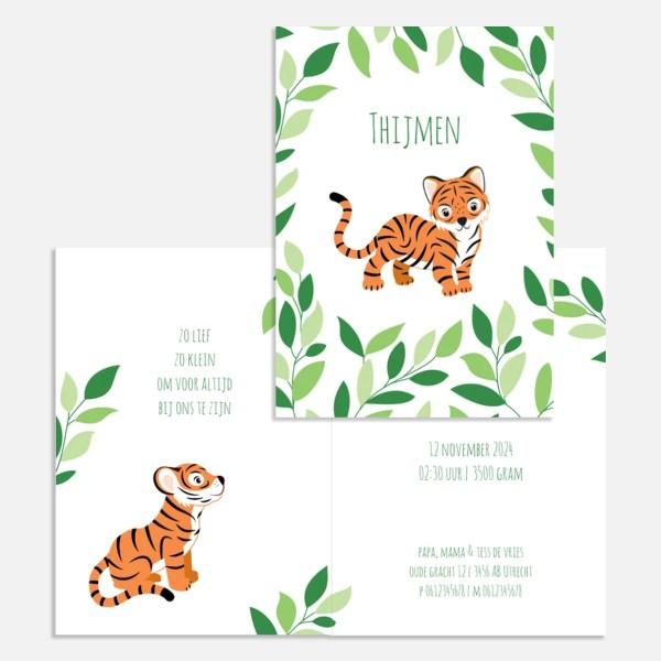 geboortekaartje tijgertjes botanisch ontwerp door lindy