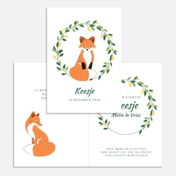 geboortekaartje vosjes botanisch ontwerp door lindy