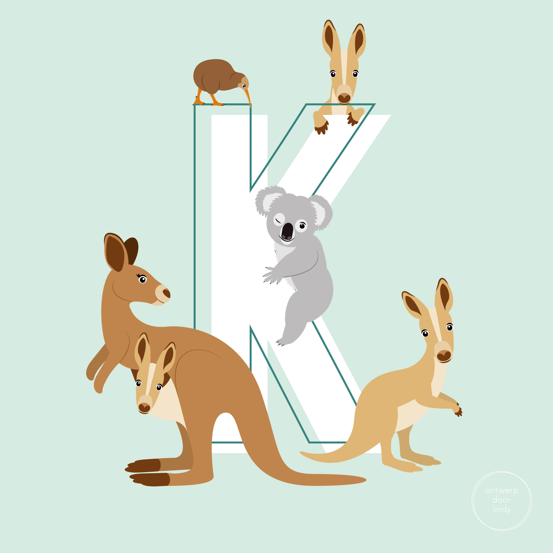 kangoeroes koala kiwi australie ontwerp door lindy