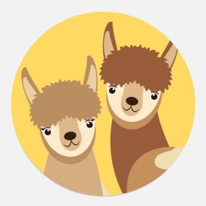 sticker alpacas lamas geel cadeau kind ontwerp door lindy