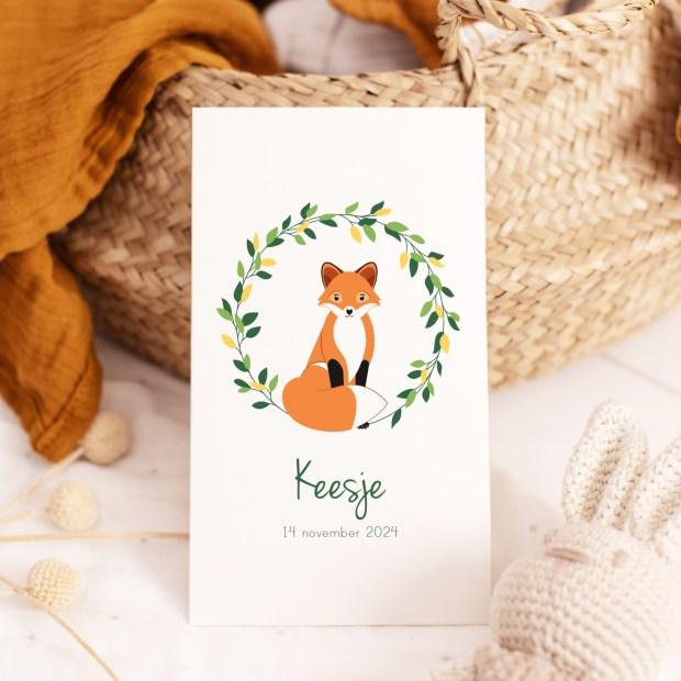 geboortekaartje dieren vos ontwerp door lindy