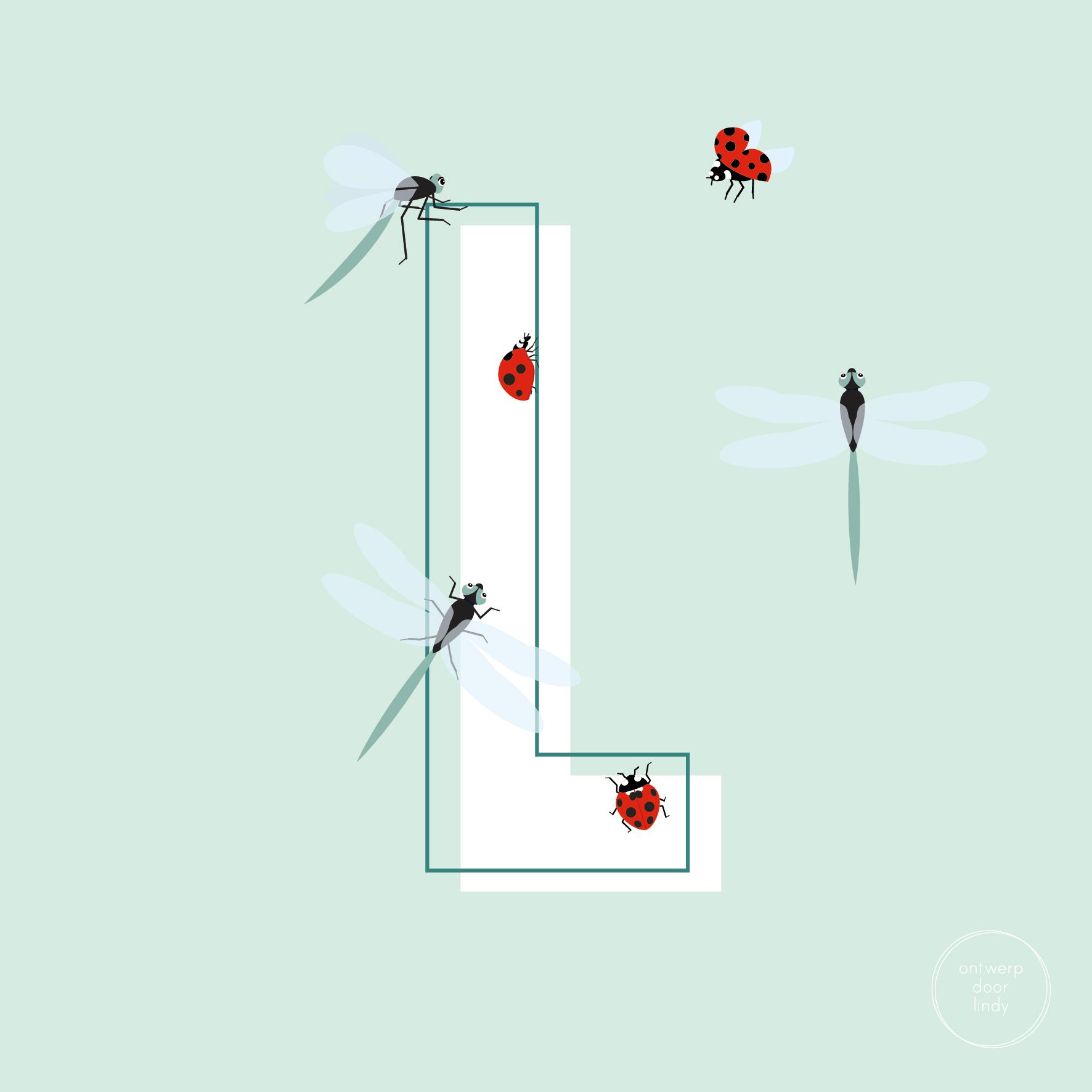 illustratie ABC diertjes LIbelle en lieveheersbeestje Ontwerp door Lindy