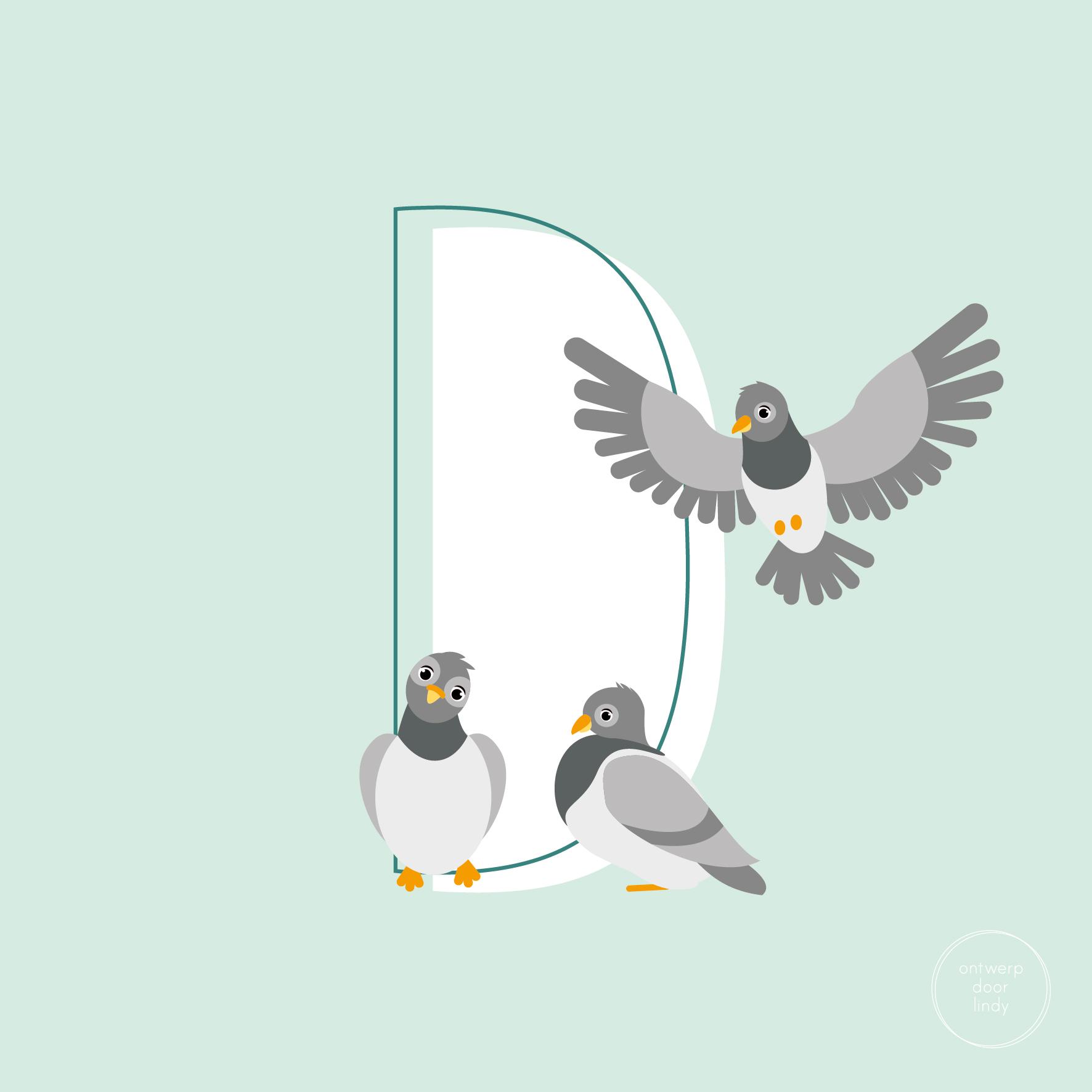 illustratie ABC diertjes duiven Ontwerp door Lindy