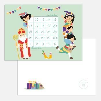 Sinterklaas sint aftellen aftelkalender A6 ontwerp door lindy 2021