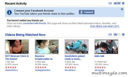 Youtube Facebook'tan bildiriyor
