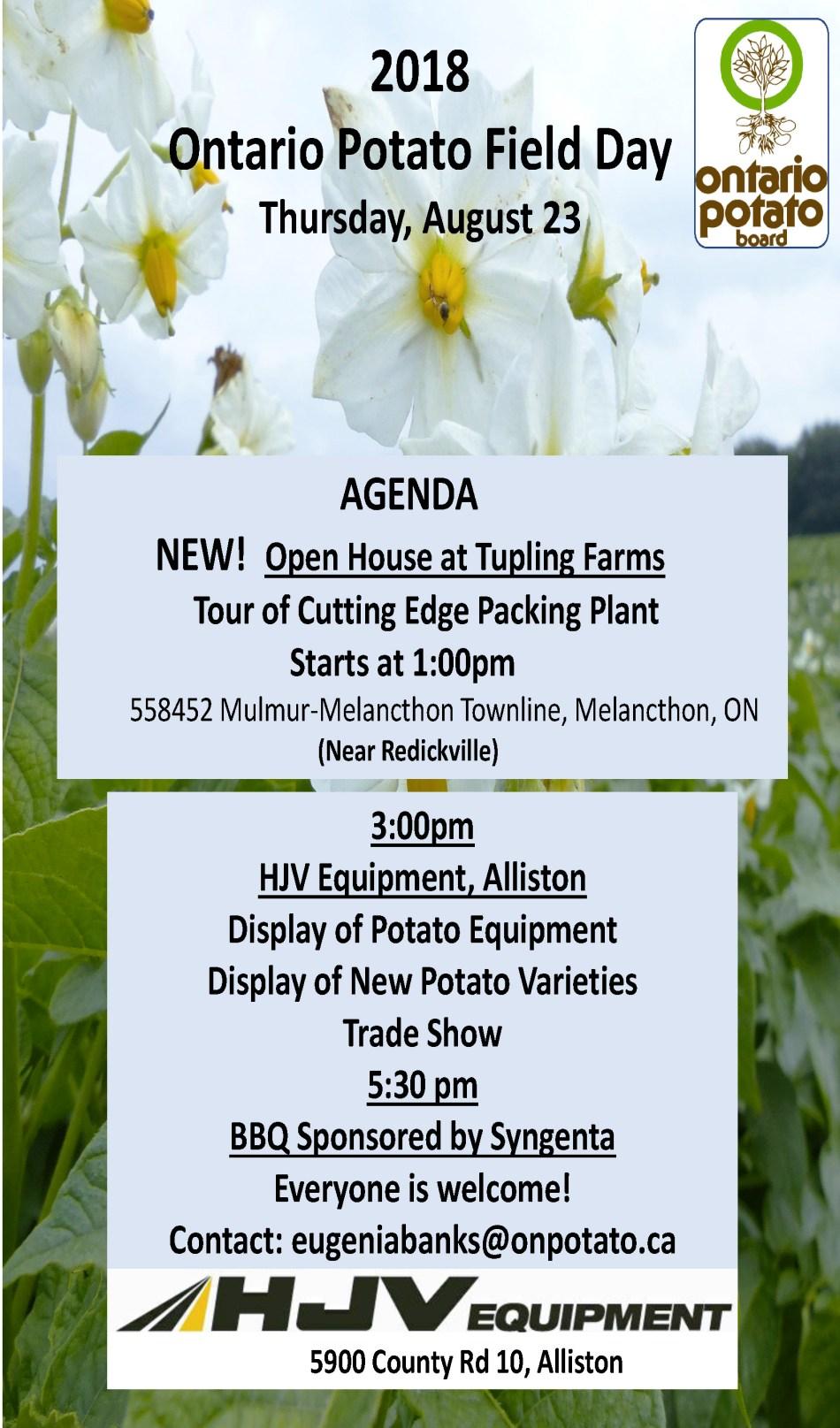 2018 Field Day Updated Agenda