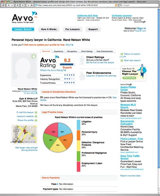 Avvo Home Page