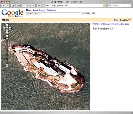 Google Map View of Alcatraz