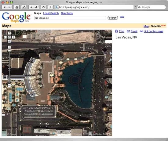 Google Map View of the Bellagio in Las Vegas