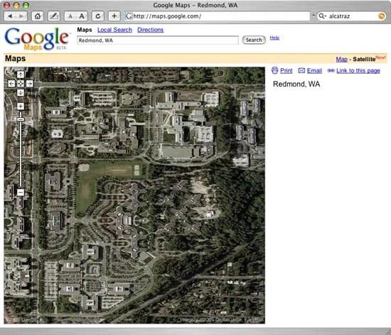 Google Map View of Microsoft