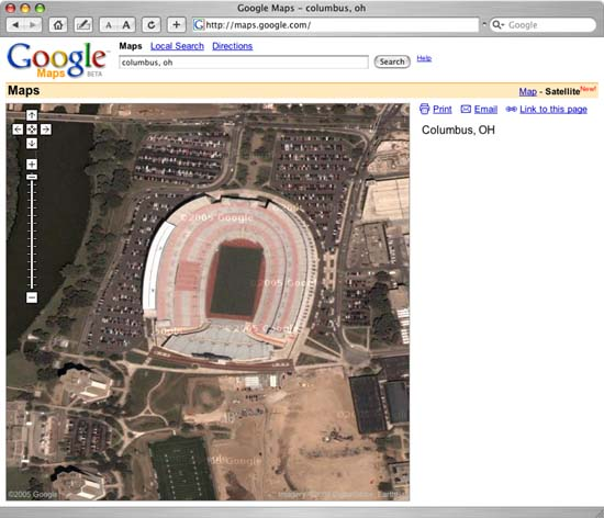 Google Map View of Ohio State University Football Stadium in Columbus