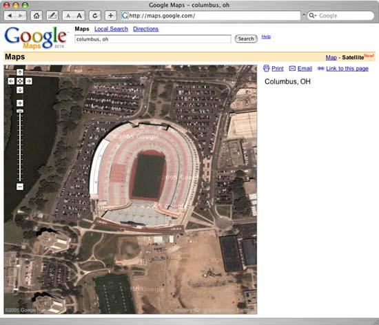 Google Map View of Ohio State University Football Stadium in Columbus