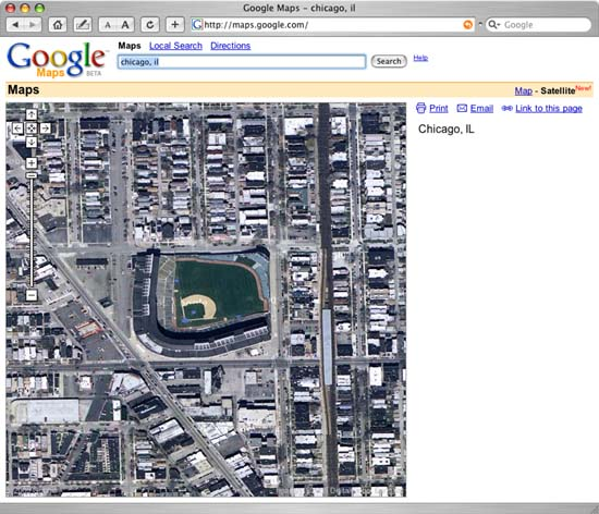 Google Map View of the Wrigley Field in Chicago