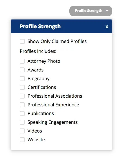 Filter by Profile Strength