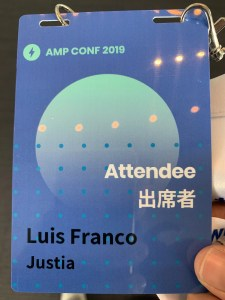 Luis' AMP Conf 2019 Attendee Badge