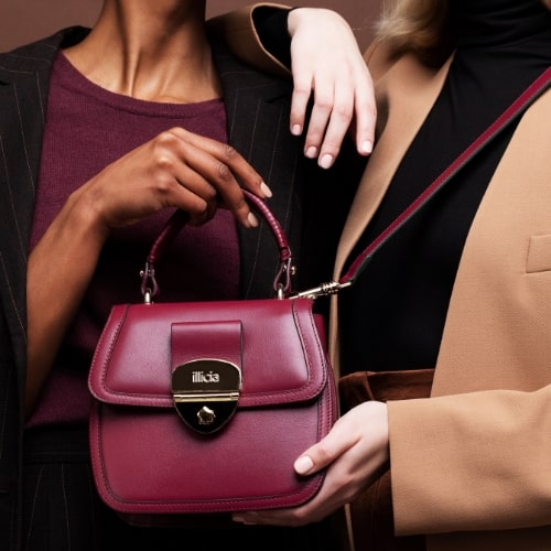 Red Nappa Leather top-handle handbag, Illicia, Onwards and Up London fashion business consultant
