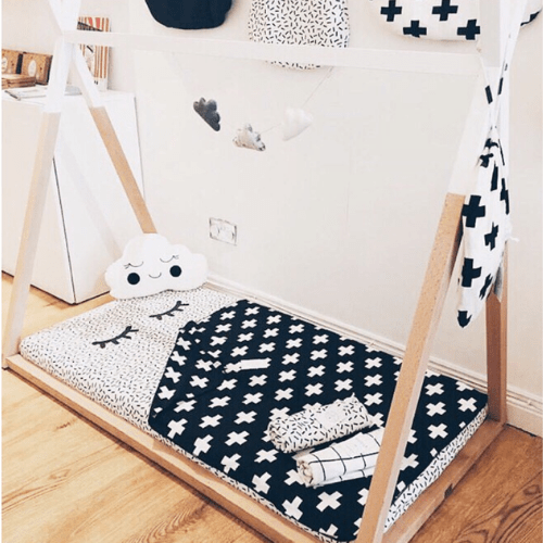 Monochrome teepees, accessories and interiors