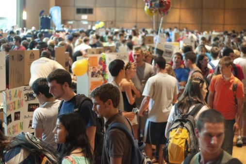 Penn State Students learn about various clubs and activities offered at the University Park Campus. The involvement fair is held in Alumni Hall in the HUB.