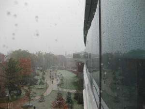 The view from the IST Building onto West Campus and Old Main Bell Tower