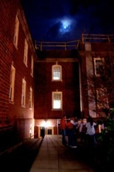 The line at Ritenour awaits while the moon shines over the normally creepy building.