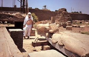 """A colossal statue from the lost temple of Akhenaten, one of Redford's archeological digs. King Akhenaten was """"the most controversial figure in all of Egyptian history."""""""
